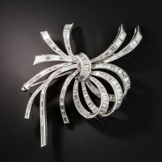 Mid-Century Platinum Baguette Diamond Bow Brooch - 2