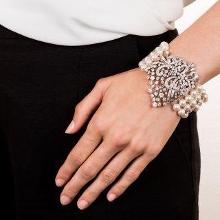 Mid-Century Platinum, Diamond and Cultured Pearl Bracelet