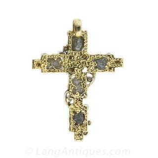 Mid-Century Rough  Diamond Cross