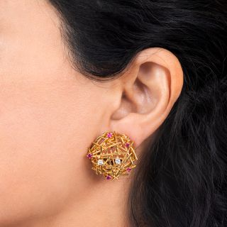 Mid-Century Ruby and Diamond Bird's Nest Earrings