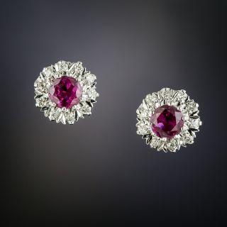 Mid-Century Ruby and Diamond Halo Ear Studs - 4