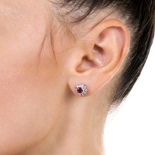 Mid-Century Ruby and Diamond Halo Ear Studs