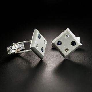 Mid-Century Sapphire and Diamond Domino / Dice Cuff Links - 2