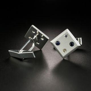 Mid-Century Sapphire and Diamond Domino / Dice Cuff Links