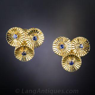 Mid-Century Sapphire Clip Earrings - 1