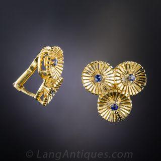 Mid-Century Sapphire Clip Earrings