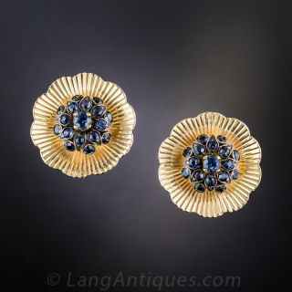 Mid-Century Sapphire Cluster Clip Earrings