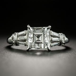 MId-Century Square Emerald Cut Diamond Engagement Ring - GIA 2.25 H SI1 - 2