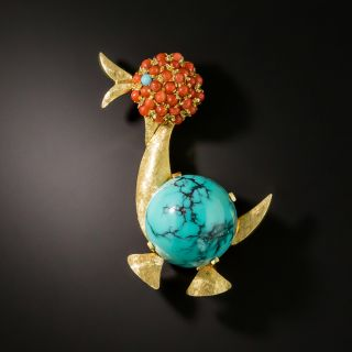 Mid-Century Turquoise and Coral Duck Pin - 2