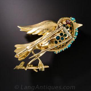 Mid-Century Turquoise Bird Brooch