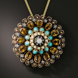 Mid-Century Turquoise, Pearl, Citrine and Diamond Brooch