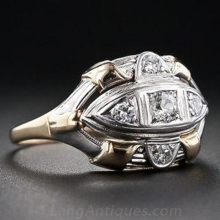 Mid-Century Two-Tone Diamond Ring