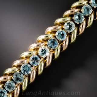 Mid-Century Two-Tone Gold Aquamarine Bracelet - 1