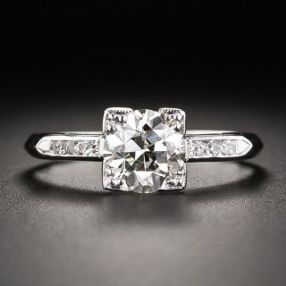 Vintage 1.10 Carat Diamond Platinum Engagement Ring - GIA J SI2