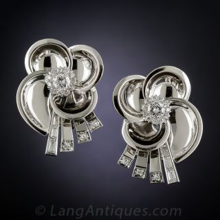 Mid-Century White Gold and Diamond Earclips