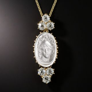 Moonstone Cameo and Diamond Pendant