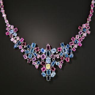 Multi-Color 81.30 Carat Sapphire Necklace  - 3