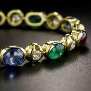 Multi-Color Cabochon Gemstone and Diamond Bracelet