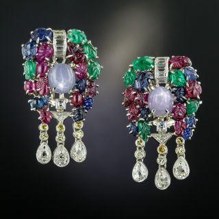 Multi-Stone and Diamond 'Tutti Frutti' Earrings - Art Deco - 2