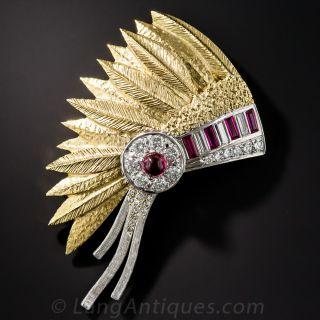 Native American Headdress Brooch