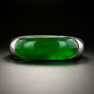 Natural Burmese 5.19 Carat Jade Saddle Ring  - 1