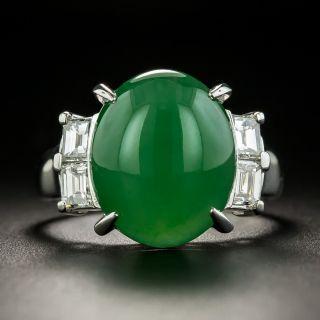 Natural Burmese 8.91 Carat Jade and Diamond Ring - 1