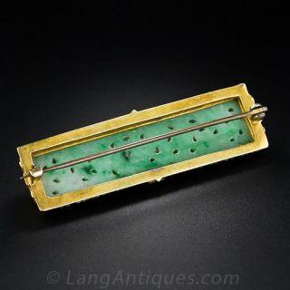Natural Burmese Carved Vintage Jade Bar Pin