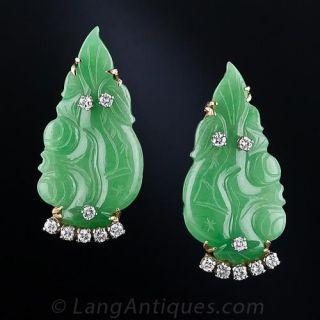 Natural Burmese Jade and Diamond  Leaf  Earrings