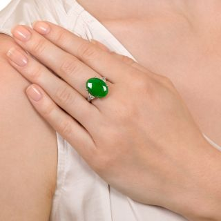 Natural Burmese Jade and Trillion-Cut Diamond Ring