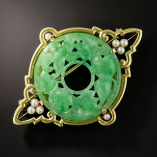 Natural Burmese Jade Brooch by Carter, Gough, and Co - 2