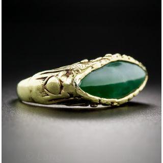 Natural Burmese Jade Navette Saddle Ring