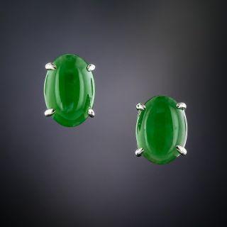 Natural Burmese Jade Stud Earrings - 1