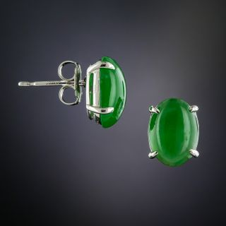 Natural Burmese Jade Stud Earrings