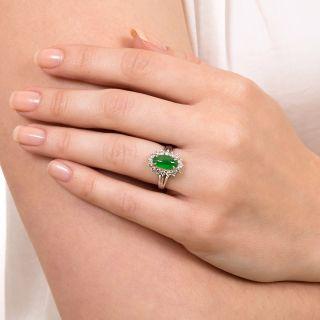 Estate Natural Burmese Jade and Diamond Halo Ring