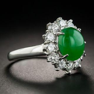 Natural 2.73 Carat Burmese Jadeite Platinum Diamond Ring