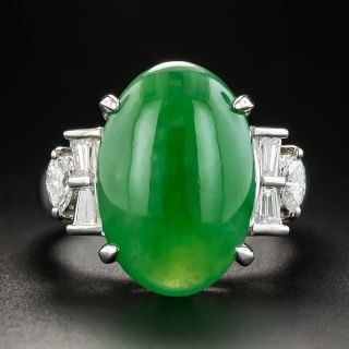 Natural Burmese Jadeite Platinum Diamond Ring