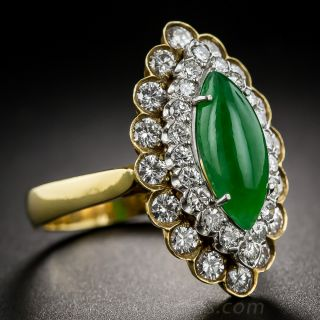 Natural Burmese Jadite and Diamond Dinner Ring by T&Z
