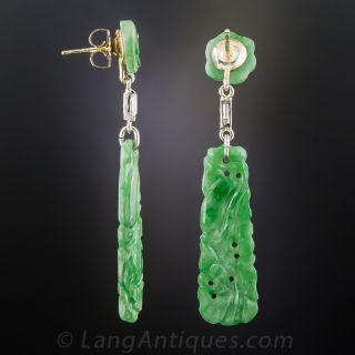 Natural Carved Burma Jadeite & Diamond Earrings