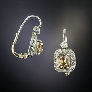 Natural Cognac Antique Cushion-Cut Diamond Drop Earrings  - 2