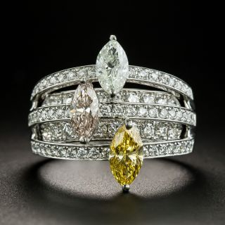 Natural Fancy Color Three-MarquiseDiamond Ring - GIA - 1