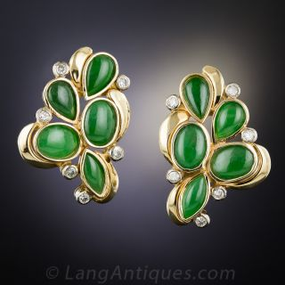 Natural Jade and Diamond Cluster Earrings
