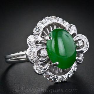 Natural Jade and Diamond Ring