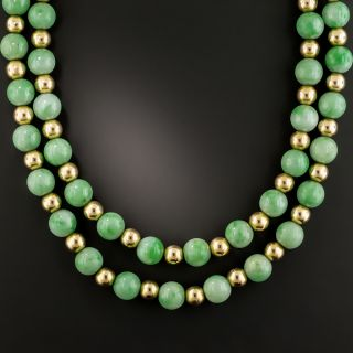 Natural Jade and Gold Bead Necklace - 2