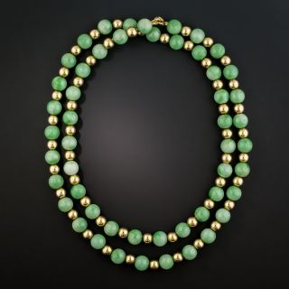 Natural Jade and Gold Bead Necklace