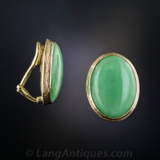 Natural Jadeite Jade Ear Clips with Posts
