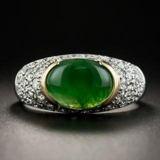 Natural Jadeite Platinum Pavé Diamond Ring - 1