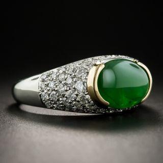 Natural Jadeite Platinum Pavé Diamond Ring