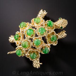 Natural Jadeite Turtle Brooch