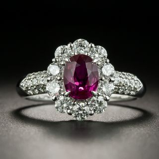 Natural No-Heat 1.09 Carat Ruby and Diamond Cluster Ring - GIA - 1