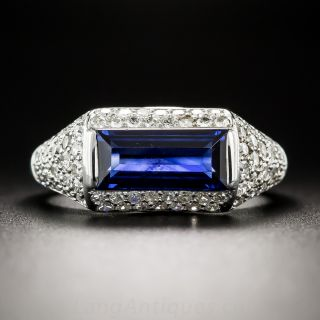 Natural No-Heat Emerald-Cut Sapphire and Diamond Ring - 1